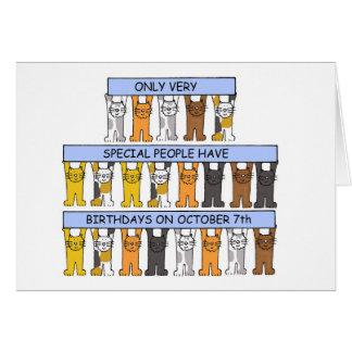 Cartão 7 de outubro aniversários comemorados por gatos