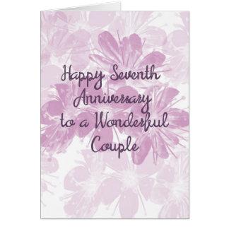 Cartão 7o Flores da lavanda do aniversário de casamento