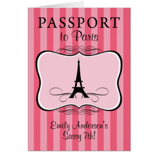 Cartão 7o Passaporte de Paris do aniversário