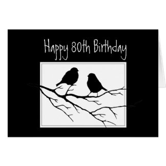 Cartão 80 feliz, octogésimo, pássaros do aniversário dois