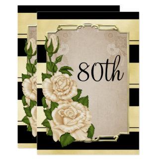 Cartão 80 quadro dos rosas do marfim ouro elegante