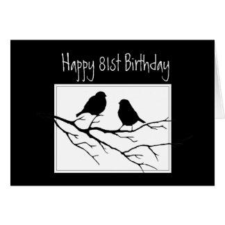 Cartão 81st feliz, Oitenta-Primeiros, pássaros do
