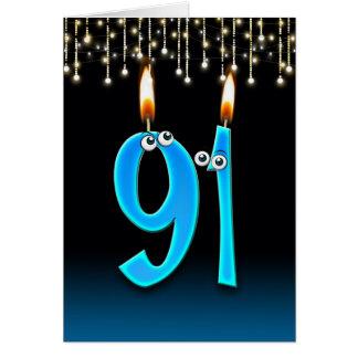 Cartão 91st aniversário com velas do globo ocular
