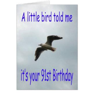 Cartão 91st pássaro feliz da gaivota do vôo do