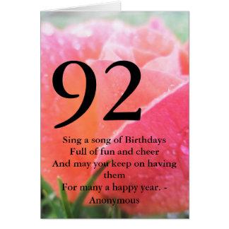 Cartão 92nd Aniversário