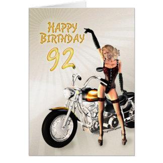 Cartão 92nd aniversário com meninas e uma motocicleta