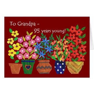 Cartão 95th Aniversário para um avô - flower power