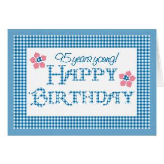 Cartão 95th Aniversário, teste padrão azul do guingão da