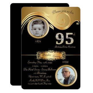 Cartão 95th, homem 95th do aniversário, art deco