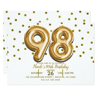 Cartão 98 balões do ouro & festa de aniversário dos