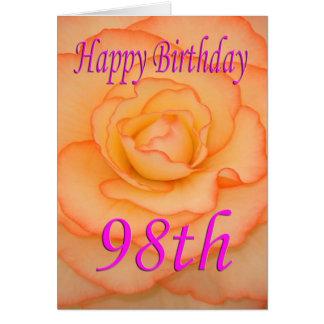 Cartão 98th flor feliz do aniversário