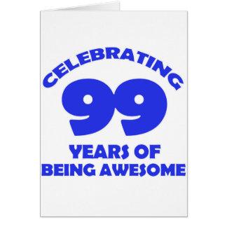 Cartão 99 anos de design velho do aniversário
