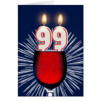 Cartão 99.o Aniversário com vinho e velas