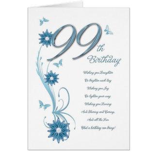 Cartão 99.o aniversário na cerceta com flores