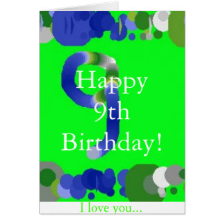 Cartão 9o aniversário feliz!