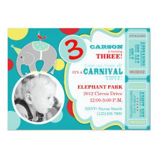 Cartão A7 do convite do aniversário do elefante do