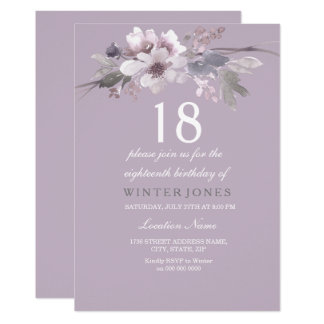 Cartão A 18a festa de aniversário floral roxa elegante