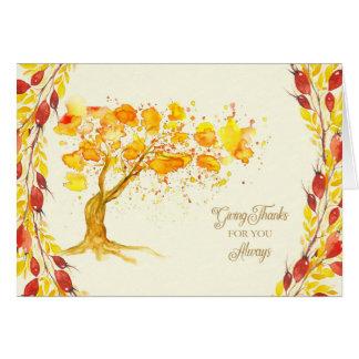 Cartão A acção de graças dá a obrigados bagas da árvore e