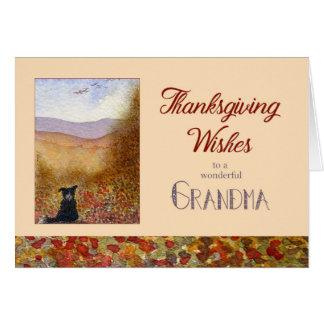 Cartão A acção de graças deseja a avó, cão de border