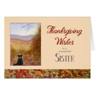 Cartão A acção de graças deseja a irmã, cão de border
