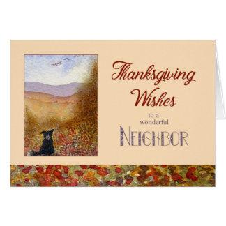 Cartão A acção de graças deseja o vizinho - outono do