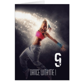 Cartão A agitação escura da luz da dança ostenta a menina