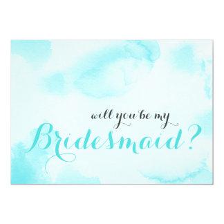 Cartão A aguarela azul   você será minha dama de honra