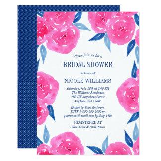 Cartão A aguarela cor-de-rosa dos azuis marinhos floresce
