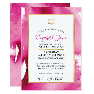 Cartão A aguarela cor-de-rosa esperta da estrela do ouro