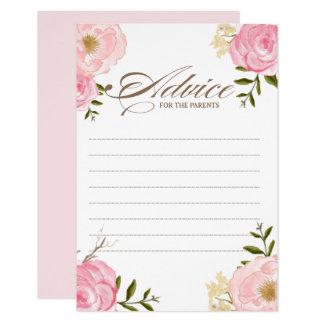 Cartão A aguarela cor-de-rosa floresce o conselho para os