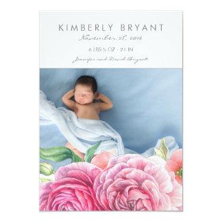 Cartão A aguarela cor-de-rosa floresce o nascimento do