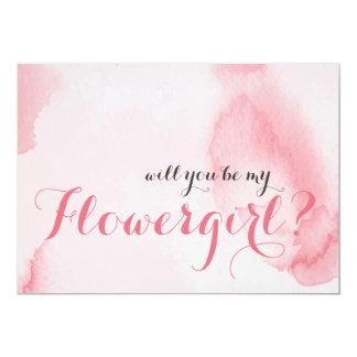 Cartão A aguarela cor-de-rosa   você será meu Flowergirl