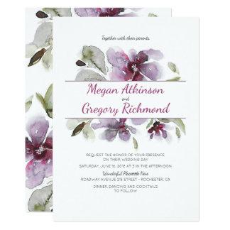 Cartão A aguarela da ameixa floresce o casamento