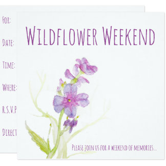 Cartão A aguarela floral floresce flores pintadas roxo