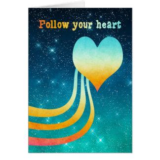 Cartão A aguarela Pastel segue seu coração