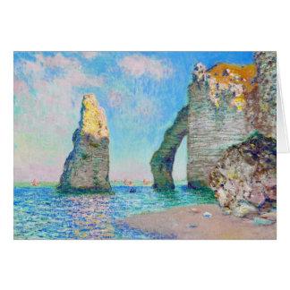 Cartão A agulha da rocha e o Porte Claude Monet d'Aval