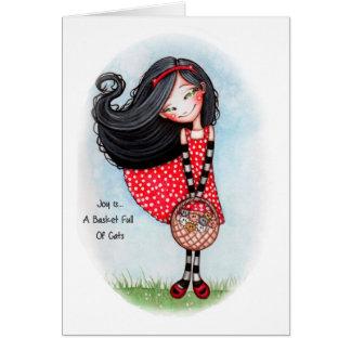 Cartão A alegria é… Um cheio da cesta dos gatos