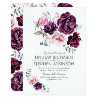 Cartão A ameixa Borgonha e cora casamento floral da