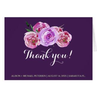 Cartão A ameixa cora as peônias violetas que wedding o