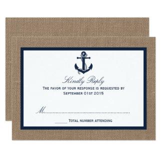 Cartão A âncora do marinho na coleção do casamento de