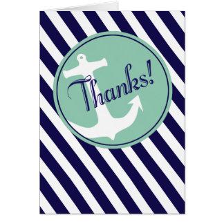 Cartão A âncora em listras agradece-lhe aqua do marinho