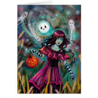 Cartão A arte gótico de sorriso do Dia das Bruxas da
