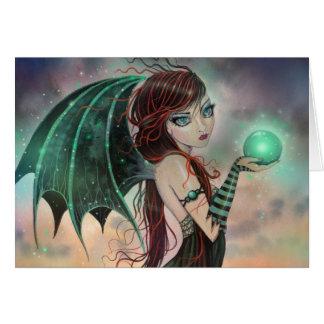 Cartão A arte verde da fada do vampiro da fantasia da