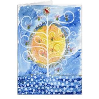 Cartão A árvore de pera & a perdiz