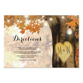 Cartão A árvore rústica do outono da queda ilumina