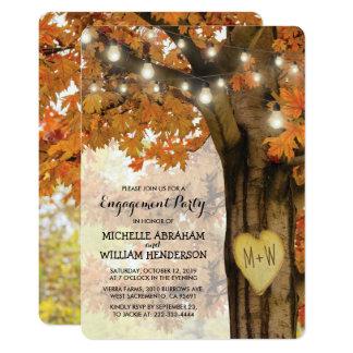 Cartão A árvore rústica do outono da queda ilumina a
