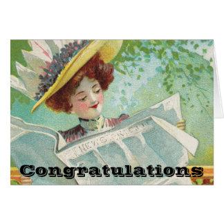 Cartão A boa notícia dos parabéns obtem ao redor