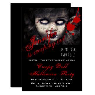 Cartão A BONECA MÁ o Dia das Bruxas convida assustador