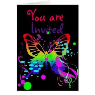 Cartão A borboleta mega da cor no partido preto dos