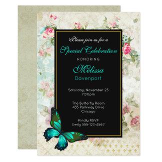 Cartão A borboleta verde no evento cor-de-rosa da colagem